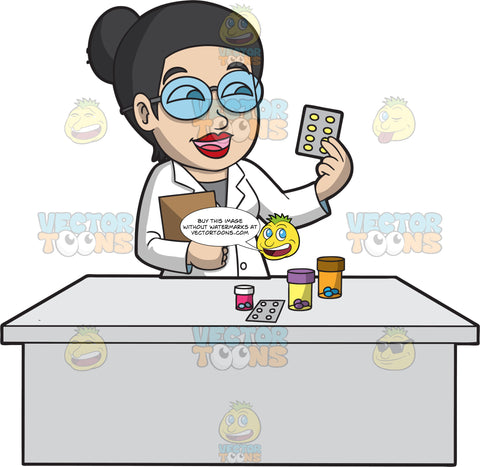 A Happy Female Pharmacist Filling A Prescription