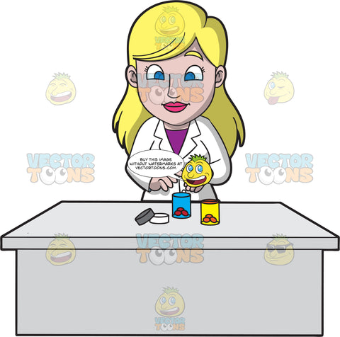 A Female Pharmacist Placing Prescribed Tablets Into A Container