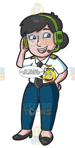 A Female Pilot Wearing A Headset