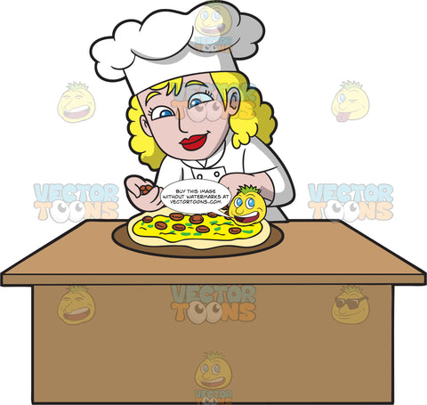 A Female Pizza Maker Putting Toppings On A Pizza
