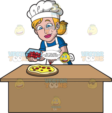 A Female Pizza Maker Adding Slices Of Pepperoni