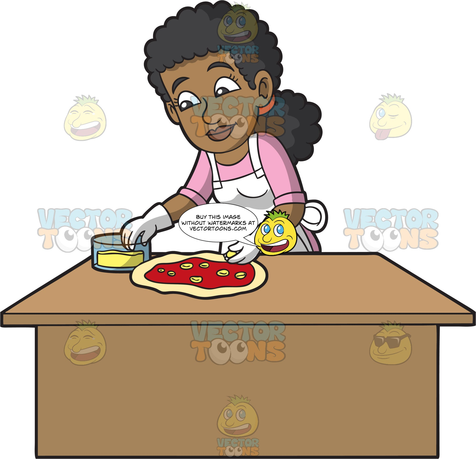 A Female Pizza Maker Putting Cheese On A Pizza