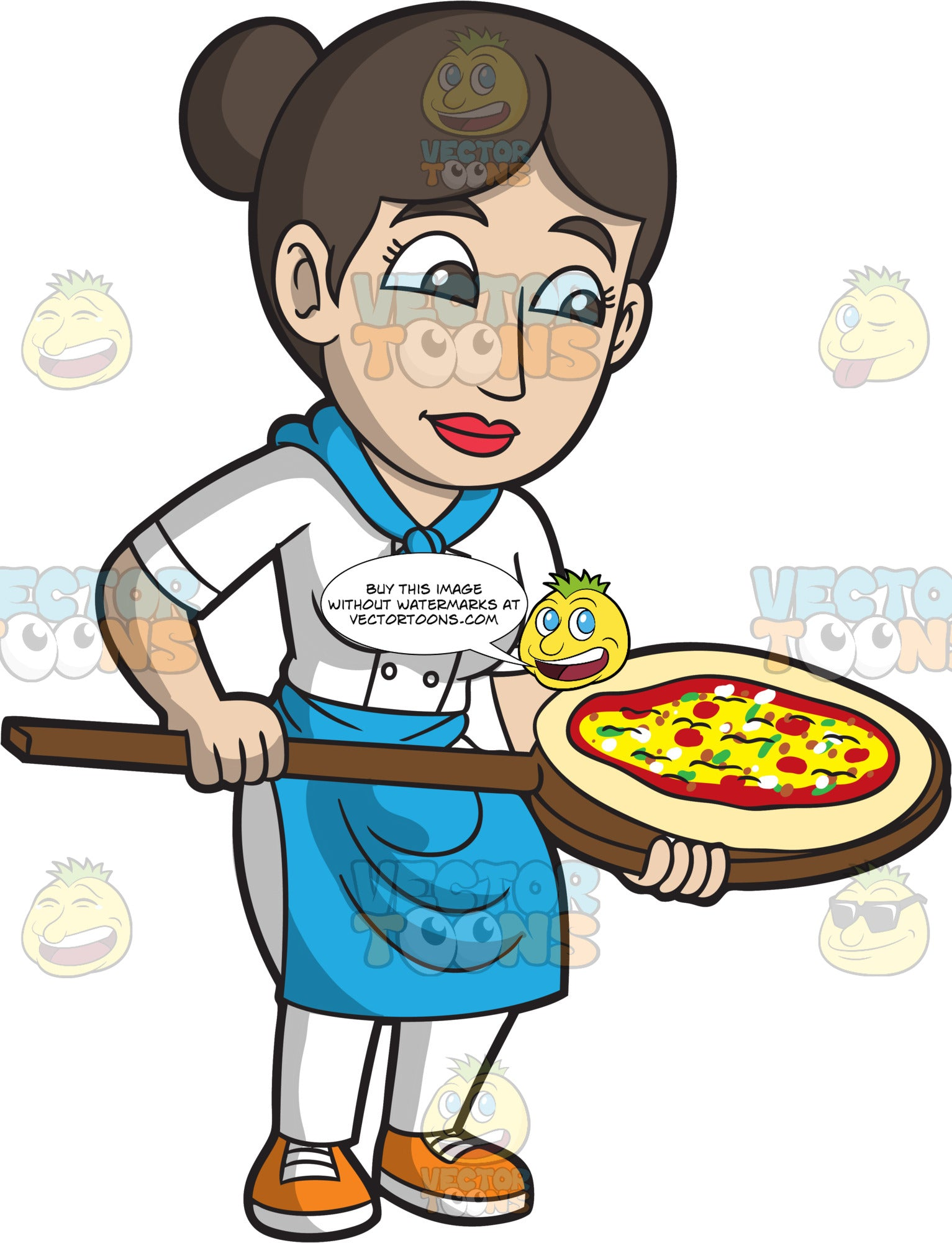 A Female Pizza Maker Baking A Delicious Pizza Pie