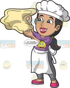 A Female Pizza Maker Tossing A Piece Of Dough