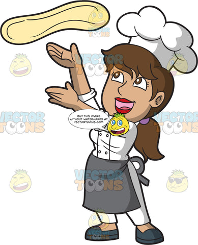 A Happy Female Pizza Maker Tossing A Piece Of Dough In The Air