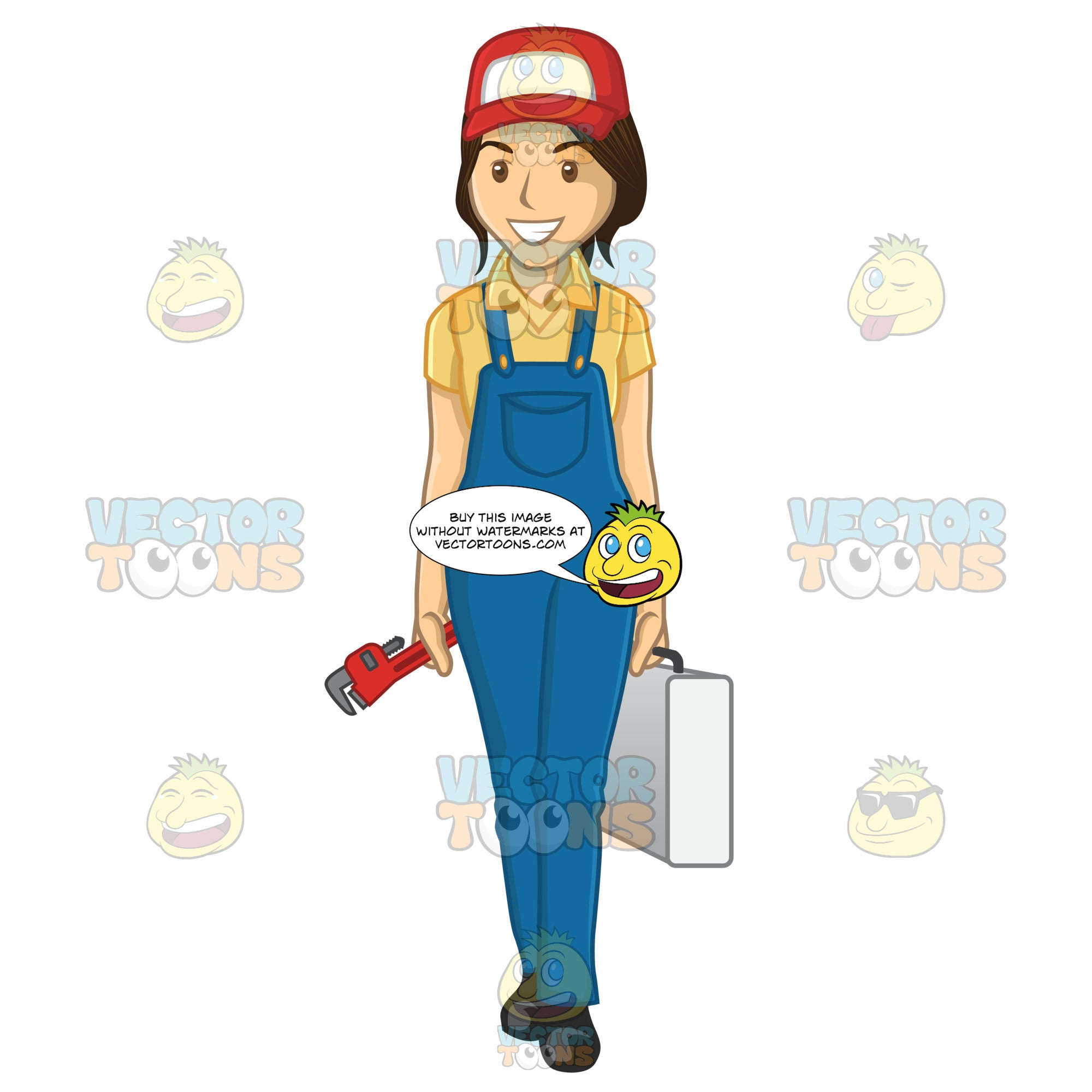 Woman Plumber Carrying A Wrench And Tool Box While Wearing Overalls And A Red Trucker Cap