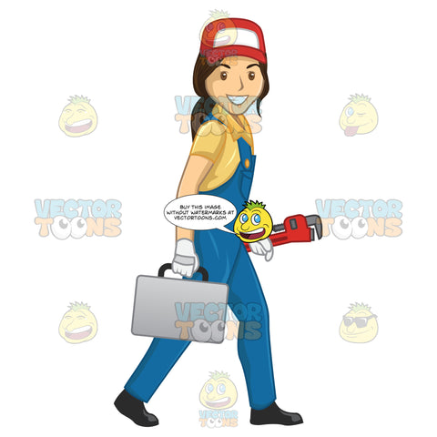 Female Plumber Walking While Carrying Tool Box And Wrench