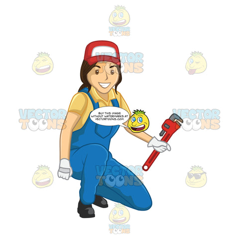 Female Plumber Kneeling Down While Holding A Wrench