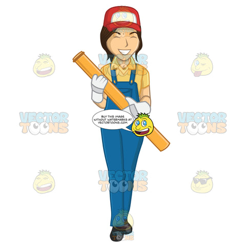 Female Plumber Carrying A Pipe While Smiling