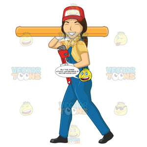 Female Plumber Smiling And Walking While Carrying A Large Pipe