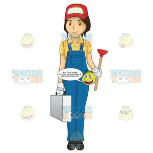Female Plumber Carrying A Tool Box And A Plunger