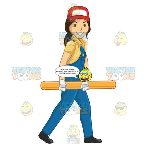 Female Plumber Carrying A Pipe While Walking