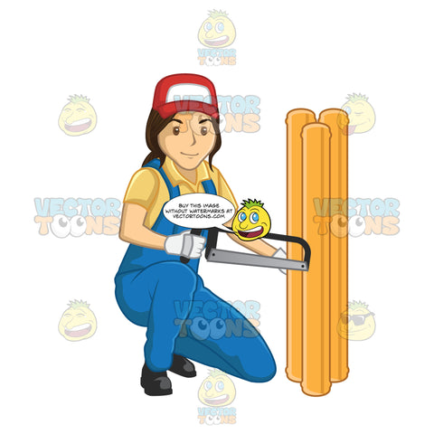 Female Plumber Using A Saw To Cut Through Pipes
