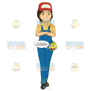 Female Plumber Wearing Overalls And A Truckers Cap While Arms Folded