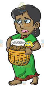 A Female Polynesian Slave Carrying A Basket Of Potatoes