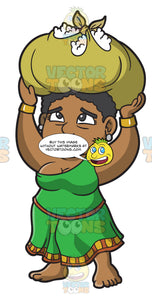A Female Polynesian Slave Carrying Kilos Of Cotton On Her Head
