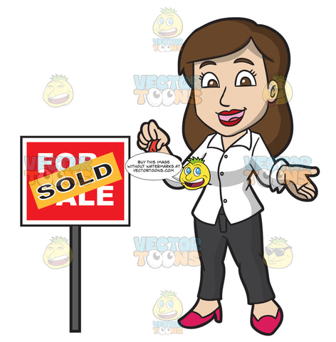 A Female Real Estate Agent Successfully Sells A House