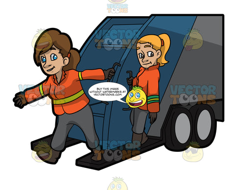 Two Female Sanitation Workers On The Back Of A Garbage Truck