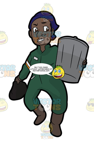 A Black Female Sanitation Worker Carrying A Trash Can