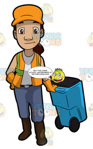 A Female Sanitation Worker Pulling A Garbage Bin