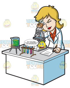 A Female Scientist Looking At An Organism Using A Microscope