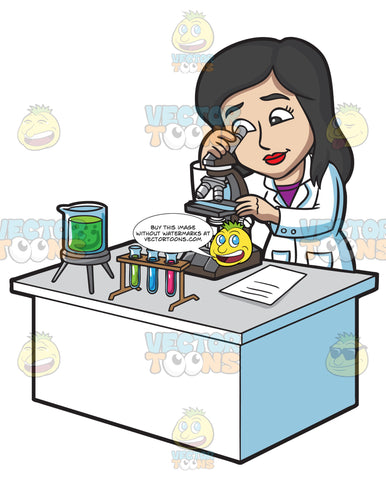 A Female Scientist Studying Something Under A Microscope