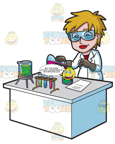 A Female Scientist Combining Mixtures During An Experiment