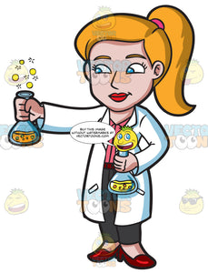 A Female Scientist Holding A Bubbly Chemical Experiment