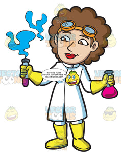 A Female Scientist Looking At The Fumes From A Test Tube