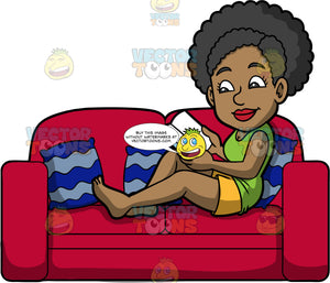 Jackie Enjoying A Good Book. A black woman wearing yellow shorts and a green tank top, relaxing on a red sofa while reading a book