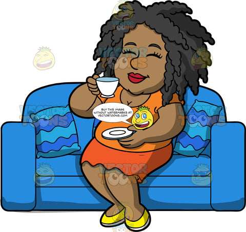 Lisa Sitting Down And Drinking A Cup Of Tea. A black woman wearing an orange skirt, an orange shirt, and yellow shoes, sitting on a blue couch and enjoying a cup of tea