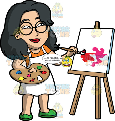 Lynn Painting On A Canvas. An Asian woman wearing a white apron over an orange dress, green shoes, and round eyeglasses, holding a a painting pallet in one hand and a paint brush in the other, as she starts to paint something on a white canvas