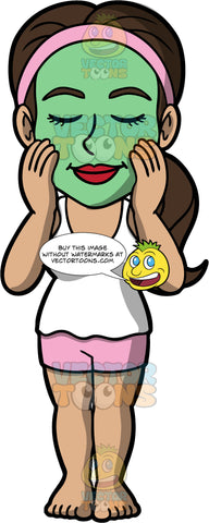 Isabella Putting A Green Facial Mask All Over Her Face. A Hispanic woman wearing pink shorts, a white tank top, and a pink head band, putting a green skin treatment on her face