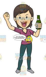 Woman Holding A Beer While Holding Her Other Fist In The Air