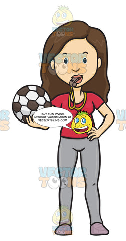 Woman Holding A Soccer Ball With A Whistle In Her Mouth