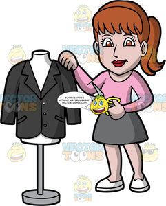 A Pretty Female Tailor. A woman with reddish brown hair tied up in a ponytail, wearing a gray skirt, a pink shirt, and white shoes, standing next to a tailor bust with a black jacket on it, and holding a pair of scissors in one hand