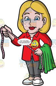 A Female Tailor Holding A Measuring Tape And Fabric. A woman with dark blonde hair and blue eyes, wearing dark gray pants, a red jacket, and white shoes, holding a tape measure between both hands, and a piece of green fabric draped over one arm