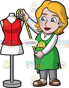 A Female Tailor Measuring A Garment On A Tailor Bust. A woman with dark blonde hair and blue eyes, wearing gray pants, a green smock over a white shirt, and brown sandals, holding a tape measure up against a tailor bust, to measure a a piece of fabric on it