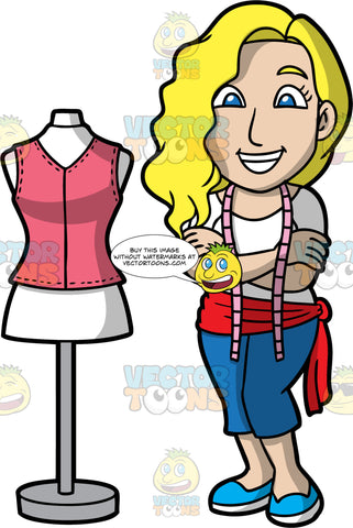 A Happy Female Tailor. A woman with blonde hair and blue eyes, wearing blue capri pants, a white shirt, blue shoes, a red scarf around her waist, and a tape measure around her neck, standing next to a tailor bust, with her arms crossed across her chest