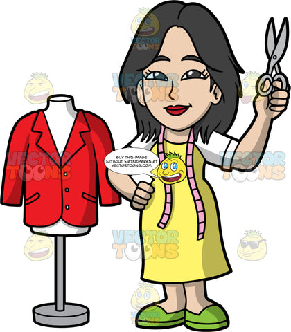 A Female Tailor Holding A Pair Of Scissors Up. A woman with shoulder length black hair, wearing a yellow dress over a white shirt, green shoes, and a tape measure around her neck, standing next to a tailor bust with a red jacket on it, and holding a pair of scissors up in her one hand