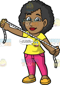 A Female Tailor Holding A Tape Measure. A black woman wearing pink pants, a yellow shirt, and yellow shoes, holding a tape measure open between both hands