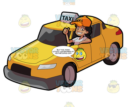 A Female Taxi Driver Gesturing An Approval Sign