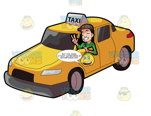 A Female Taxi Driver Gesturing A Victory Sign