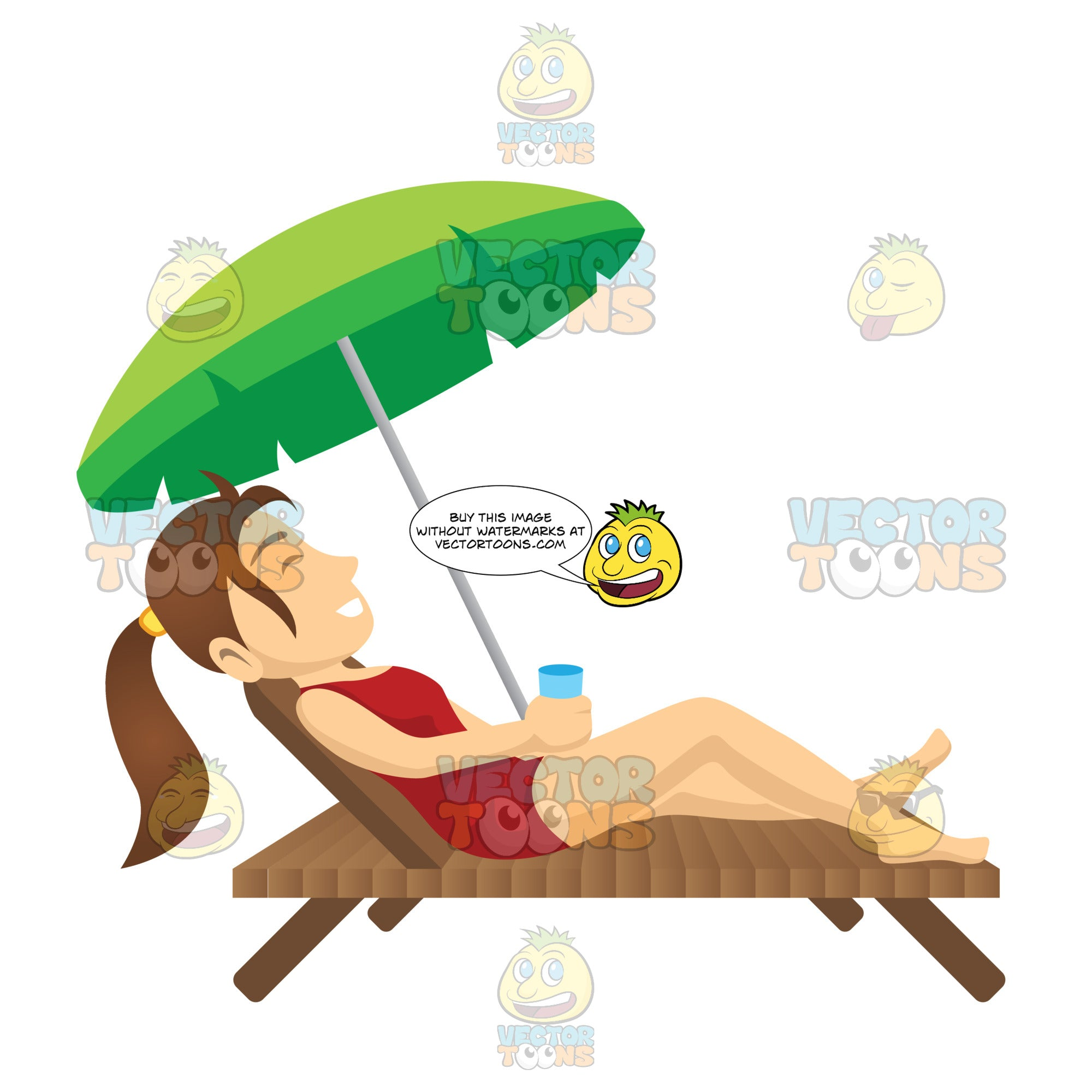 Female Laying On A Beach Chair Under An Umbrella While Holding A Drink