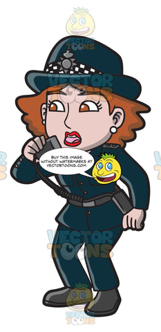 A British Female Police Officer Alerting All Units