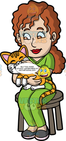 A Female Veterinary Doctor Cuddling A Cat. A female veterinarian with curly brown hair in a ponytail, wearing a green scrub suit, dark gray shoes, sitting on a brown stool while cuddling a cat with orange and white coat