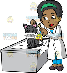 A Black Female Veterinary Doctor Examining The Ear Of A Charming Cat. A black female veterinarian with curly hair, wearing a green headband, white coat over a blue blouse and pants, dark purple heels, smiles while standing beside a gray desk as she inspects the ear of a cute dark gray cat using an otoscope