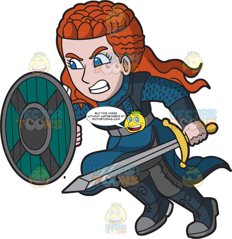 An Attacking Female Viking