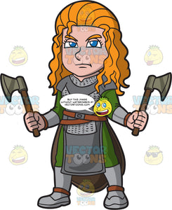 A Female Viking Wielding Axes