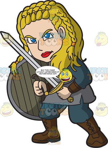 A Female Viking Ready To Attack Someone